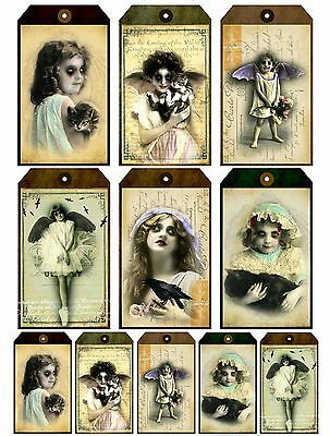 Gothic Girl (11 Dark Vampire Girl Gothic Hang Tags Scrapbooking Paper Crafts)
