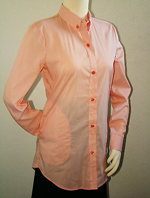 New York and Company Women Striped Orange White Long Sleeve Button Down Shirt S (Orange And White Striped Long Sleeve Shirt)