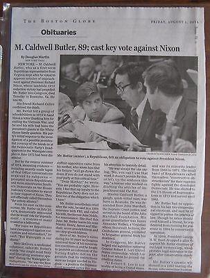 Obituary  Boston Globe  August 1  2014  M  Caldwell Butler  Nixon Impeachment