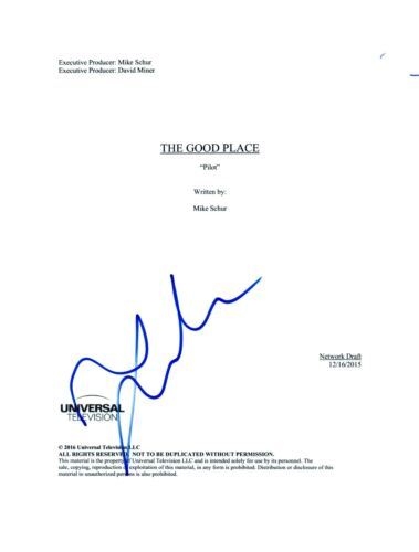 Jameela Jamil Signed Autographed THE GOOD PLACE Pilot Episode Script COA