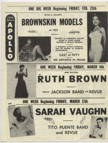 RUTH BROWN Tito Puente SARAH VAUGHAN Orig 1955 APOLLO THEATRE Concert Handbill