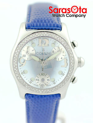 Corum Bubble 196.150.20 Blue MOP Dial Chronograph Diamond Bezel Women's Watch