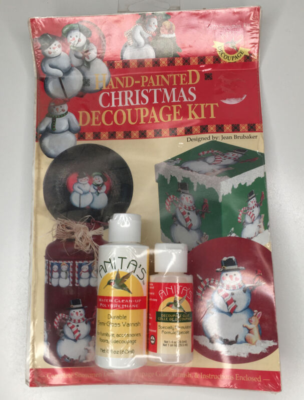 Hand -Painted CHRISTMAS DECOUPAGE Kit Old World Santa New Sealed from 1996