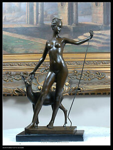 Signed E.McCartan, bronze Diana The Huntress statue