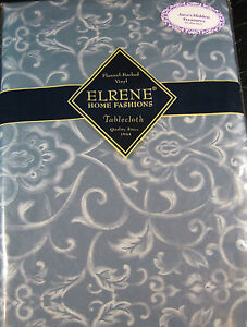 FLANNEL-BACKED VINYL TABLECLOTHS BY ELRENE HOME FASHIONS  52 X 90 OBLONG- NEW