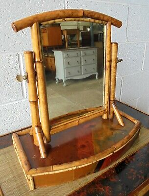 RARE ANTIQUE VICTORIAN ORIENTAL LACQUERED BAMBOO DRESSING TABLE MIRROR