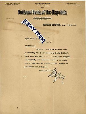 1911 Letterhead National Bank Kansas City Missouri Gb Gray Huttig Berkshire Wood