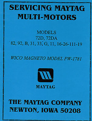 Maytag Gas Motor Engine Service Book Parts Manual Serial List Model 92 82 72