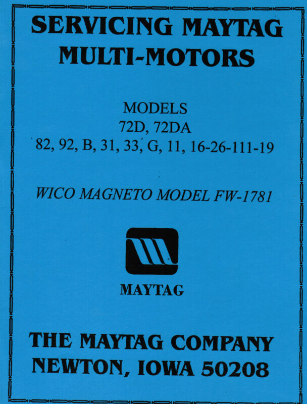 Maytag Gas Motor Engine Service Book Parts Manual & Serial # List Model 92 82 72