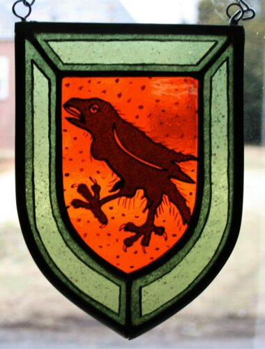 Stained Glass,Hand Painted Raven Heraldic Shield Panel, 1306-03