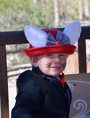 Kid White Rabbit Red Steampunk Victorian Top Hat Halloween Bunny Child