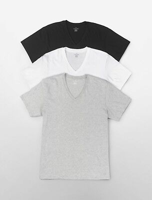 Three (3) Pack NEW Calvin Klein Men's Stretch Cotton V-Neck OR Crew Neck T-Shirt 3 Pack Cotton V-neck Tee