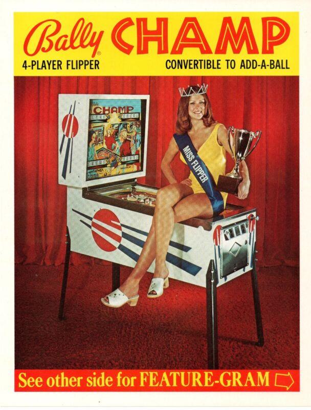 Bally CHAMP Pinball Machine Flyer Brochure