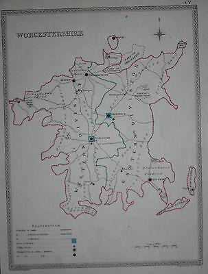 Original antique map WORCESTERSHIRE POLITICAL Samuel Lewis, J&C Walker, c.1835