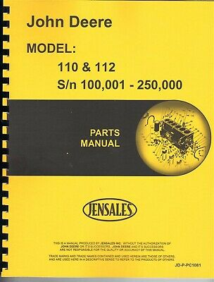 John Deere 110 112 Lawn Garden Tractor Parts Manual Catalog Pc1081