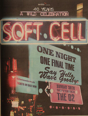 SOFT CELL MARC ALMOND LONDON THE O2 SEPTEMBER 2018 ADVERT 40 YEARS FINAL CONCERT