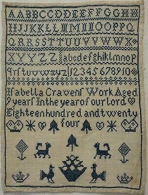 SMALL EARLY 19TH CENTURY BLUE STITCH WORK SAMPLER BY ISABELLA CRAVEN AGED 9 1824