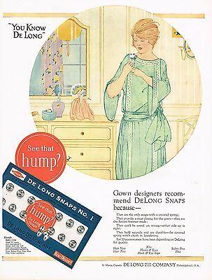 1920s BIG Vintage De Long Hook & Eye Co Clothing Fashion Snaps Lady Art Print Ad