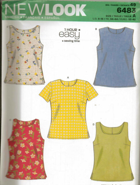 From UK Sewing Pattern Sleeveless Top Sewing Bee Blouse 6-16 us # 6483