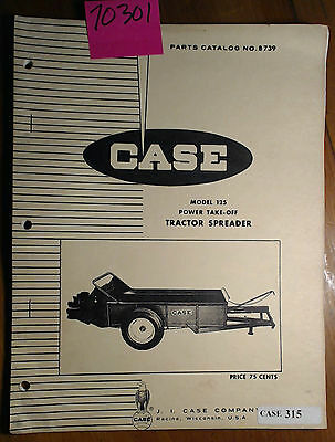 Case Model 125 Power Take-off Pto Tractor Spreader Parts Catalog Manual B739 68