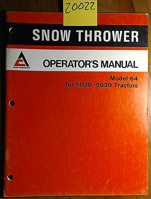 Allis-chalmers 64 Snow Thrower For 5020 5030 Tractor Owner Operator Manual 1278