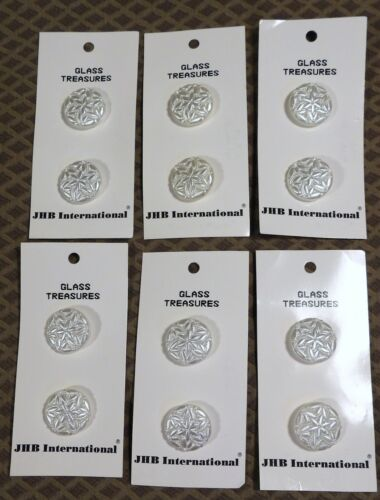"""12 NOS Vtg JHB International CARDED German White Glass BUTTONS Lohengrin 3/4"""""""