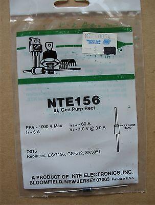 NTE Electronics 156 General Purpose Rectifier Silicon PRV-1000V Ifsm-60A If-3A General Purpose Silicon Rectifier
