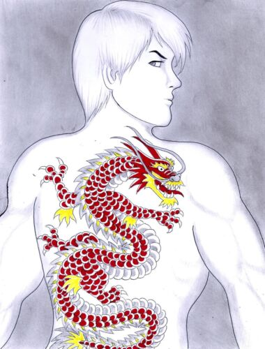 RED DRAGON TATTOO FINE ART ORIGINAL COMIC ART BY COMIC ARTIST JAMES CHEN