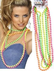 1980s-Neon-Fluorescent-Disco-80s-Beads-Fancy-Dress-Costume-Accessory-4-Colours