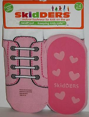 Skidders Pink & White Shoelace Slipper Socks Footwear Size 8