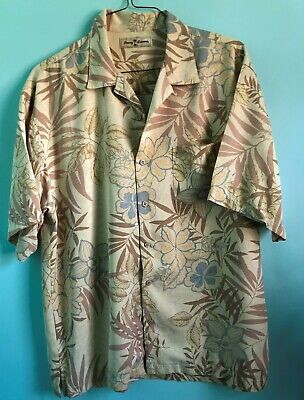 Tommy Bahama Hawaiian Shirt Button Down Short Sleeve Hybiscus Flower Mens L