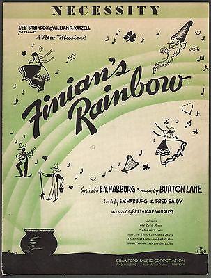Necessity 1936 Finian's Rainbow Sheet Music