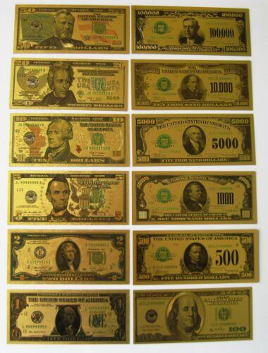 Gold Bill Set of 12 $100.000-10,000-$5,000-$1000-$500-$100-$50-$20-$10-$5-$2-$1