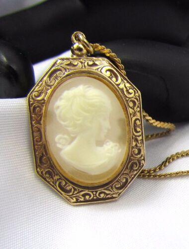 """Vintage 24"""" Gold Cameo Pendant & Chain Necklace Portrait"""
