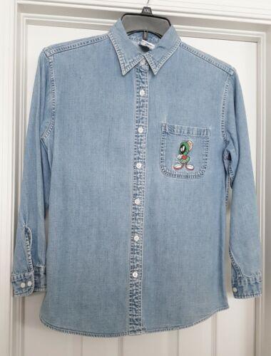 Marvin Martian Denim Shirt Warner Bros L/S Cotton Button Front Womens XP RARE 99