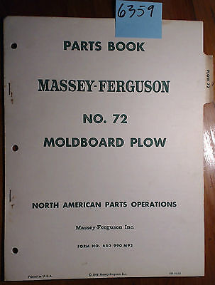 Massey Harris Ferguson No. 72 Moldboard Plow Parts List Manual 650 990 M92 1062