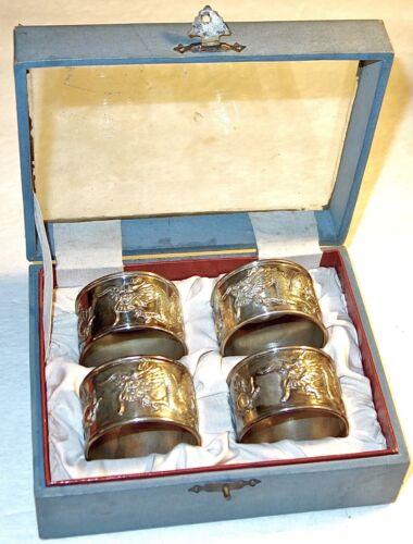 SET of (4) ANTIQUE STERLING SILVER NAPKIN RINGS w/DRAGONS~NO MONOS~MIB~141 GRAMS