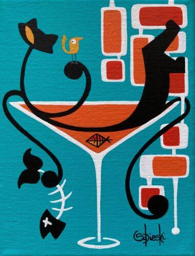 "Clee Sobieski Painting Mid Century Modern Black Kitty Cat Martini Mod Pop 6x8"""