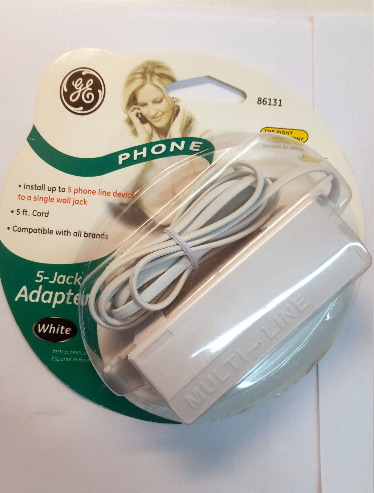 GE LOT Of 4) General Electric 86131 1 To 5 Phone Jack 6P4C 5' Cord White