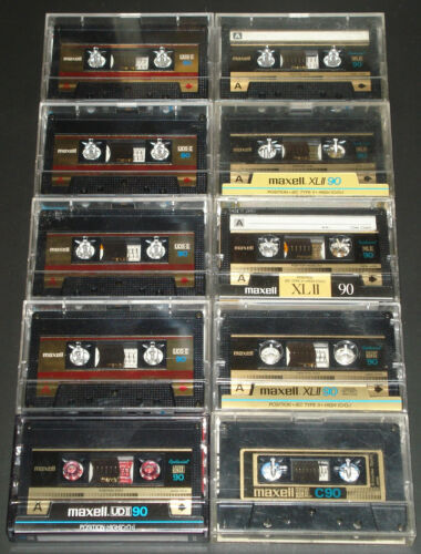 10 Maxell CrO2 Type II 90 min Cassette Tapes
