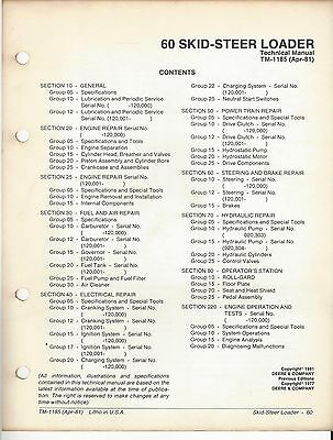 John Deere 60 Skid-steer Loader Technical Manual Apr-81 Tm-1185 . F8a