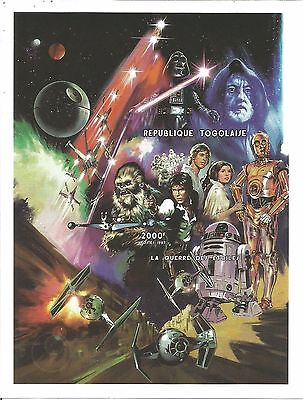 STAR WARS RARE TOGOLAISE 1997 IMPERF MNH STAMP SHEETLET 4.25 X 5.5