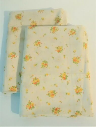 Pair Vintage Yellow Floral Pillowcases Standard Size