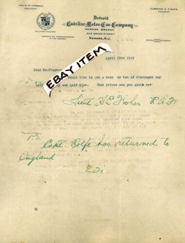 1919 letterhead CADILLAC MOTOR CAR CO Newark New Jersey INGLIS UPPERCU C. Fisher