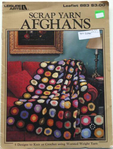 Leisure Arts Scrap Yarn Afghans Crochet Patterns Book Crafts 5 Designs See pics
