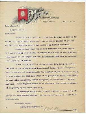1901 Banner Electric Co. Letter re: Sales of Incandescent Lamps