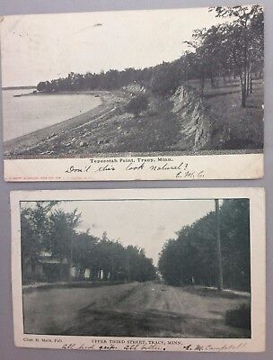 2 1906 07 Tracy Minnesota Tepeeotah Point Upper Third Street Postcard Antique