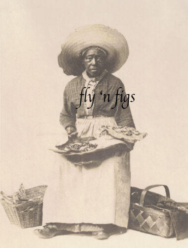 OCCUPATIONAL AFRICAN AMERICAN WOMAN FOOD VENDOR original antique photo c1900