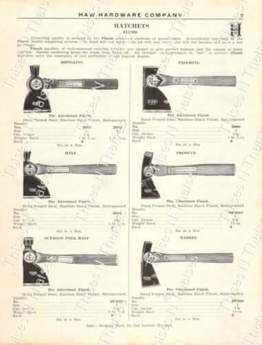 1920s Antique Hardware Ad Plumb Hatchets Shingling Flooring Half Produce Lathing