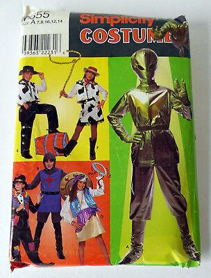 Simplicity Boys & Girls Costumes 0655 ~ Alien, Cowboy, Cowgirl, Knight, Clown A - Female Alien Costume